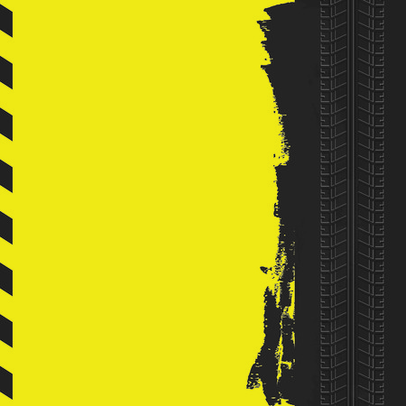 Tire track background. Yellow auto background.
