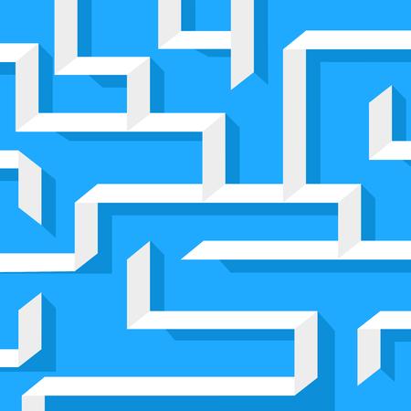 escaping: Maze onblue background. Flat design. Illustration