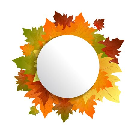 Autumn frame. Offer withe poster vector background. Frame with colorful leaves.