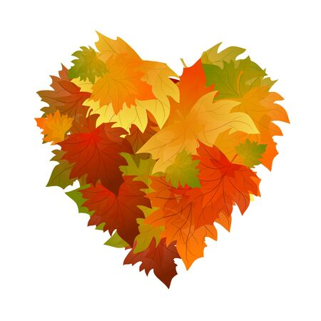 Autumn leaves heart. poster vector background. Frame with colorful leaves. Illustration