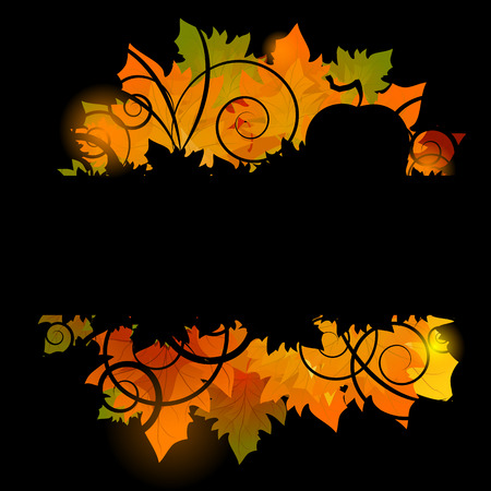 old pc: Halloween pumpkin with leafs holiday background illustration Illustration
