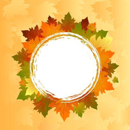best buy: Autumn frame. Offer withe poster vector background. Frame with colorful leaves.