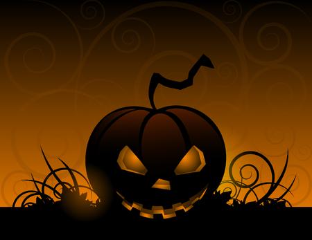 Halloween pumpkin with leafs holiday background illustration Illustration