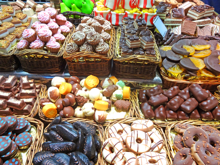Chocolate Candies at the market Stock Photo