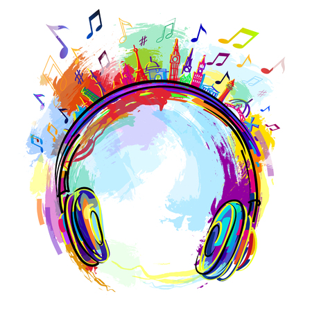 the logo of the radio station assorted colors, headphones music. Иллюстрация
