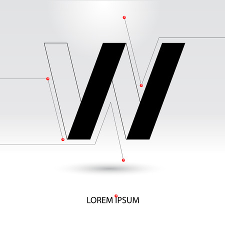 Letter W. Abstract Vector   Design Template. Creative Black Concept Icon.