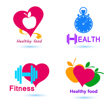 infarct: Wellness symbols. Healthy food and fitness leads to healthy heart and life.