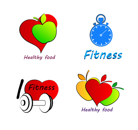 Wellness symbols. Healthy food and fitness leads to healthy heart and life.