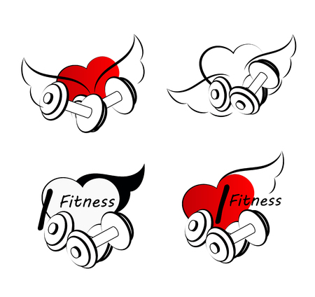 Wellness symbols. Healthy fitness leads to healthy heart and life.