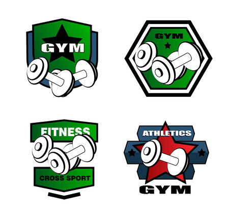 cross bar: Set of various sports and fitness logo and icons Illustration