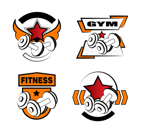 Set of various sports and fitness logo and icons Illustration