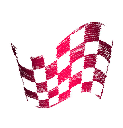 Flag tire marks on a white background