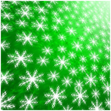 Illustration of  wallpaper green  background of white winter snowflakes for christmas and new years eve holidays