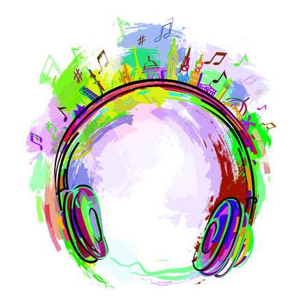the logo of the radio station assorted colors, headphones music. Stock Photo