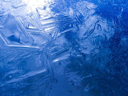 Winter card.Winter background, Frozen, blue ice texture. Banco de Imagens - 76373915