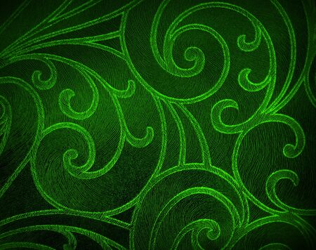 Abstract floral background in green tones.  Red pattern.                             Stock Photo