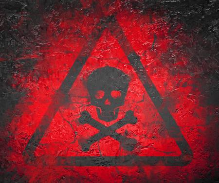 Skull and bones warning sign Stock Photo