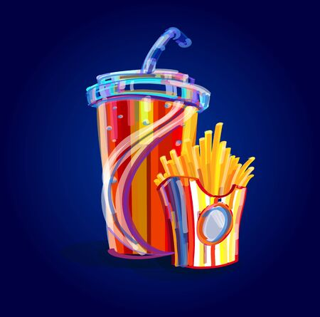 French fries and soda takeaway vector illustration.fast food menu