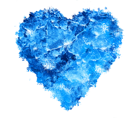 semitransparent: Blue Ice heart with bubbles and cracks isolate