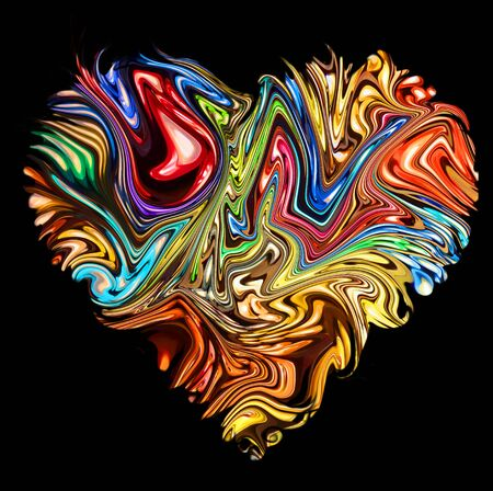 Colorful background. Abstract heart  sign, paint texture.