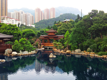 Park in Honk Kong. The pond in the Park.