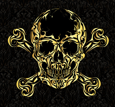 Gold Skull on black background, warning sign. Illustration