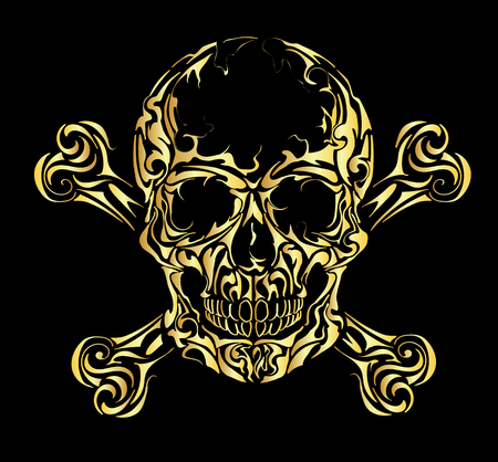 Skull and bones warning sign. Gold scull.