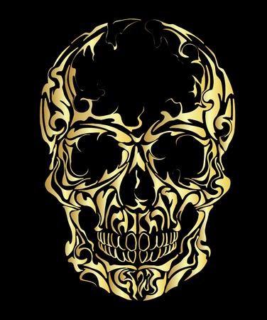Gold Skull on black background, warning sign. Illustration