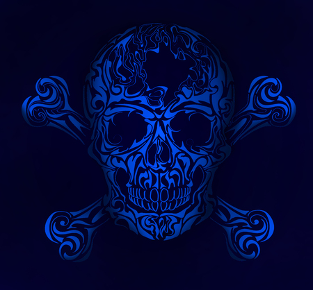 Isolated Skull on blue background, warning sign. Blue scull.