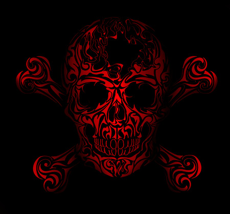 Isolated Skull on black background, warning sign. Blue scull.