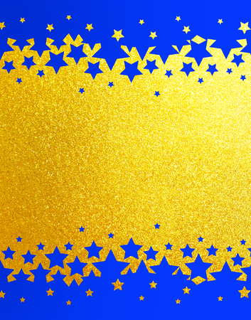 Gold rainbow glitter background with blue stars Stock Photo