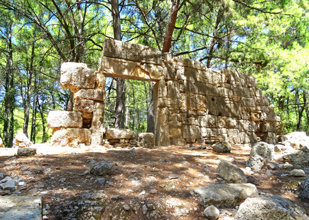 Stone ruins of ancient roman architecture. Phaselis, Antalya province, Turkey