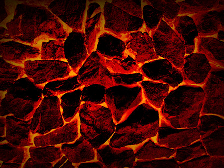 Hot stones background. Lava crack ground mud textured background.