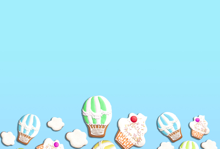 Abstract background with sweets. Homemade gingerbread cookies on blue. Stock Photo