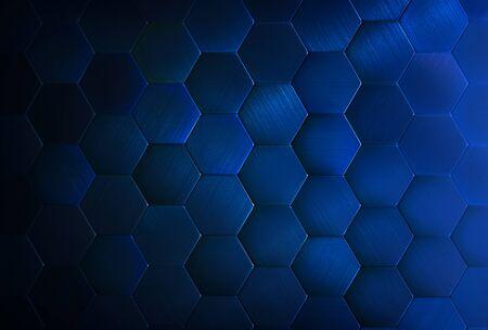 Blue tiles texture hexagon honeycomb pattern background.