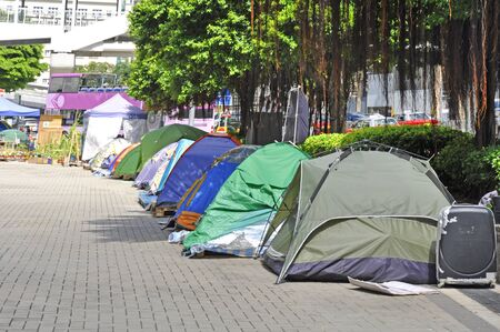 protesters ' tents on Hong Kong street