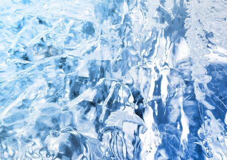 Abstrakte Eisbeschaffenheit. Blaues Eis, arktischer Eishintergrund.