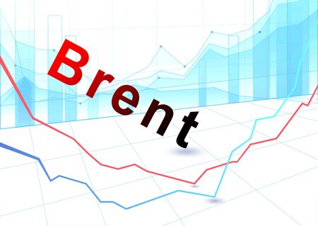 Stock Market Graph and Bar Chart. Fall in the price of brent crude oil