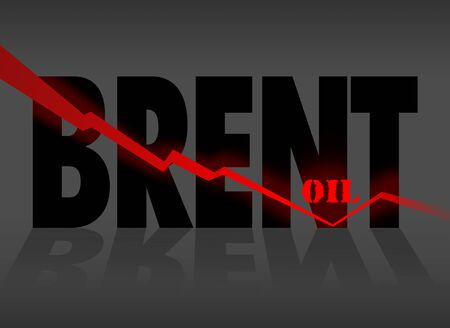 Colorful illustration with brentr and arrow. Fall in the price of brent crude oil 写真素材 - 142149242