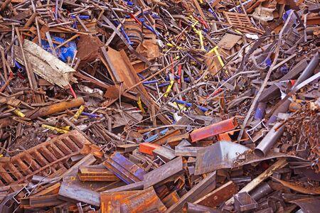 Scrap metal. Scrap. Mountains of metal trash. Waste of human activity.