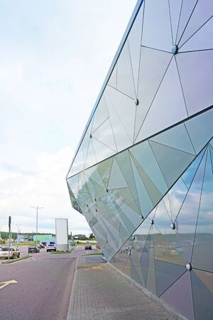 aluminum and glass building, modern shopping complex