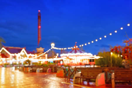 Vintage tone Abstract Blurred image of Theme park with bokeh for background usage. Stock fotó