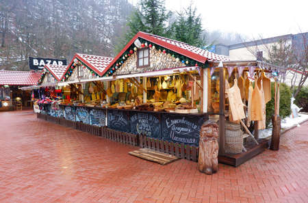 ROZA HUTOR, RUSSIA - January 29, 2021: Christmas market in a small winter town in the mountains