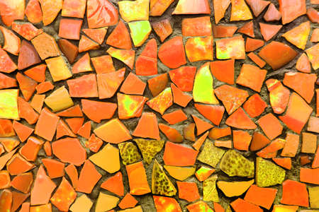 Yellow mosaic tiles of irregular sizes arranged in a background motif. Space for text. Stock fotó
