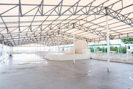 White Steel frame tents Background. Inside Big empty Canvas Tent Stock fotó