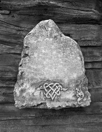 Decorations made of stone, A stone tablet with a dark background Stock fotó