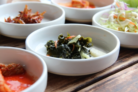 seasoned: Various Korean seasoned vegetables served as side dish