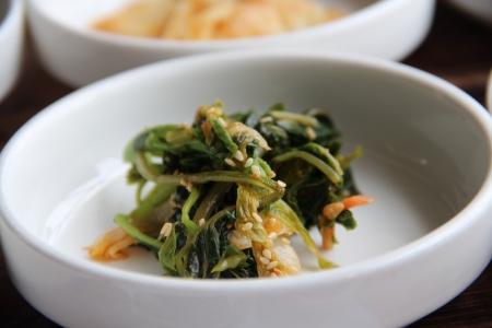 Korean seasoned vegetables served as side dish