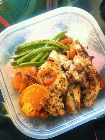 Grilled chicken fillets with roasted sweet potatoes and french beans Stock Photo - 24683010