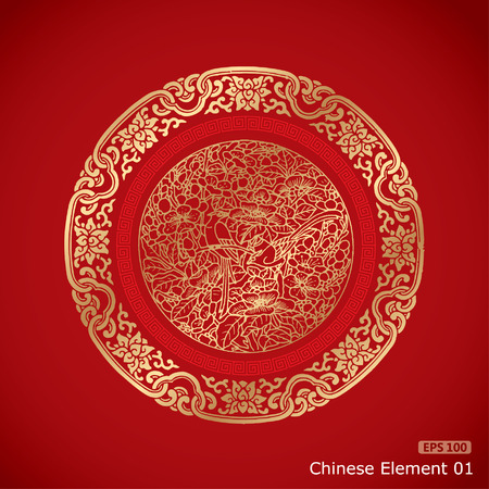 element: Chinese Vintage Elements on classic red background Illustration